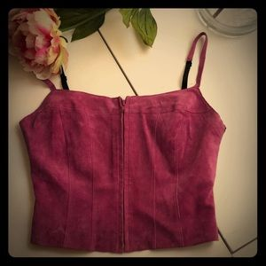 💖NWT BEBE raspberry SUEDE cropped cami.